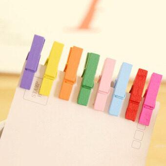 Cocotina 50ชิ้นคละสีกระดาษผ้าไม้รูปมินิติดไม้หนีบผ้าหนีบยาน 25มม