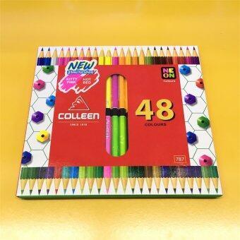 อยากขาย Colleen คลอรีน ดินสอไม้ สองด้าน 48สี 24ด้าม