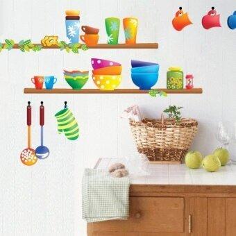 Colorful Kitchen Sticker Creative Interior Design Kitchen WaresWall Sticker for Cuisine Fridge Dining Decoration - intl