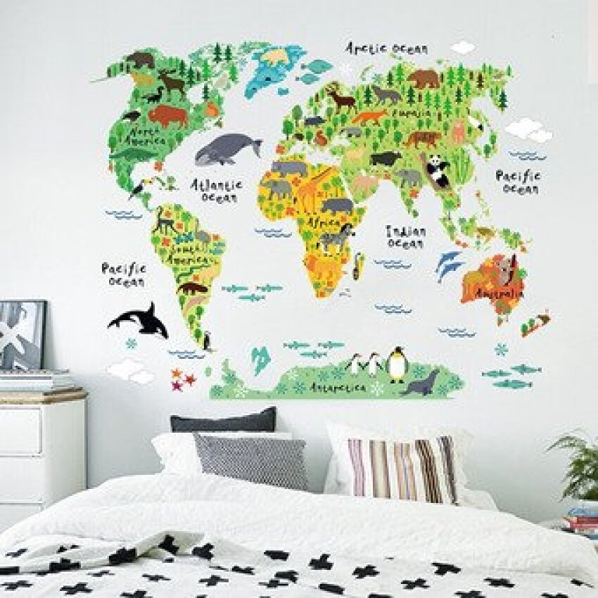 Colorful World Map Removable Wall Sticker Mural Decal Vinyl ArtKids Room Office Home Decor Animal