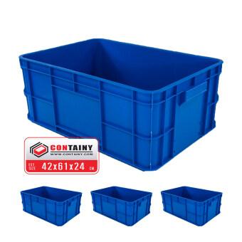 CONTAINY ลังพลาสติกทึบBOX-8029สีน้ำเงิน3ใบขนาด 42 x 61 x 24.5 ซม.