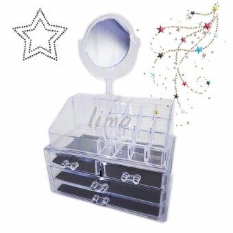 กล่องอะคริลิคใส COSMETIC ORGANIZER สำหรับวางเครื่องสำอางพร้อมกระจกแต่งหน้า กล่องเก็บของ ชั้นวางของในห้องน้ำ Makeup Boxกล่องใส่เครื่องสำอาง ชั้นวางเครื่องสำอางกล่องเก็บอุปกรณ์แต่งหน้าต่างๆ กล่องเก็บเครื่องสำอางค์กล่องเก็บเครื่องประดับ