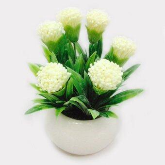 COSTO ดอกไม้ประดิษฐ์ ในกระถางกลมสีขาว 4808