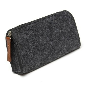 Creative Wool Felt Pencil Case Big Capacity Multifunctional Pen Bag Bandage Stationery Pouch Buckle Purse - intl