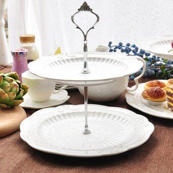 Crown Cake Cupcake Plate Stand Handle Party Wedding Dessert Fruit2Silver - intl
