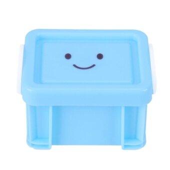 Cute Smile Mini Storage Boxes Home Furnishing Trumpet LockBox(Blue) - intl