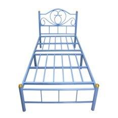 DAXTON เตียงเหล็กพับ Epoxy ขนาด3.5ฟุต ขาเหล็กหนา2นิ้ว รุ่น Crunch Up blue เป็นขนาดมาตฐาน
