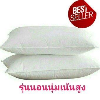 แพ็คคู่สุดคุ้ม!! หมอนขนห่านเทียมสำหรับคนชอบนอนหมอนสูง Premium Microfiber Pillow กันไรฝุ่นและเชื้อรา