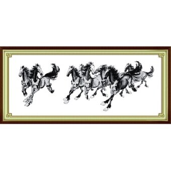 DIY Pre-Printed Fabric Counted Cross Stitch Kit Pre-Printed Pattern Needlework 14 CT - Horse Animal D015-2 - intl