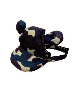 Dogacat หมวกสุนัข หมวกหมา หมวกแมว หมวกมีหู ลายทหาร size 1 - สีเขียว