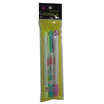 ลดราคา Dong-A ปากกาไฮไลท์ทวินไลน์เนอร์ เซ็ต 3 สี