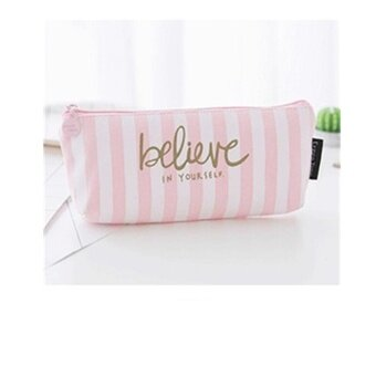 Dot Slanted Bar Canvas Pencil Case Pen Box Stationery Pouch MakeupCosmetic Bag - intl