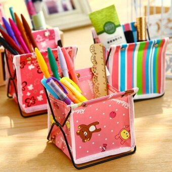 อยากขาย Eachgo Fabric Foldable Lovely Pen Pencil Organizer Storage BagCartoon Cosmetic Stand Box Case - intl