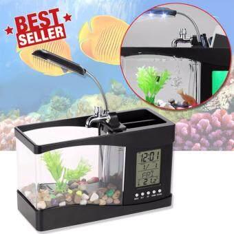 Elit ตู้ปลา USB อเนกประสงค์ หรือปลั๊กเสียบ เป็นที่ใส่อุปกรณ์เครื่องเขียน มีนาฬิกา ตั้งปลุกได้ รุ่น FT1B-EA (Black)
