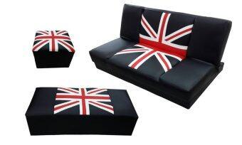 ENZIO ชุดโซฟาปรับนอน ลายธงชาติ พร้อมสตูล 2 ชิ้น ขนาด130 รุ่นKingdom Triple X Bed-A