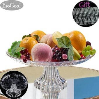 EsoGoal Acrylic Plate for Fruits Cakes Desserts Candy Buffet Stand for Home & Party with Free 50pcs Fruit Forks - intl