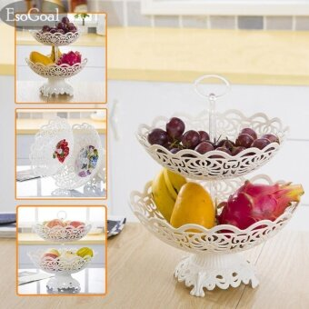 EsoGoal Fruit Plate 2 Tier Hollow Plate for Fruits Cakes DessertsCandy Buffet Stand for Home & Party - intl