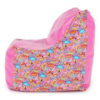 Esupersave เก้าอี้ Beanbag มีพนักพิงและหูหิ้ว (ลายการ์ตูน โทนสีชมพู) ลาซาด้า