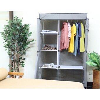 ETC Wardrobe ตู้เสื้อผ้า 2 บล็อค พร้อมผ้าคลุม(สีเทา) - ไซส์ใหญ่ ดีไหม