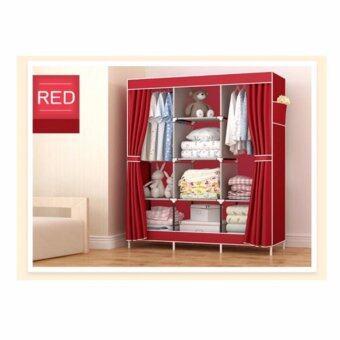 ETC Wardrobe ตู้เสื้อผ้า 3 บล็อค พร้อมชั้นวางของ 4 ชั้น(สีแดง) - ไซส์ใหญ่