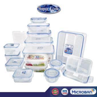 Lazada Exclusive - Super Lock กล่องถนอมอาหาร 6118-S34 เซท 34 ชิ้น รวมฝา (15 กล่อง + 2 แผ่นรองน้ำ + 2 กล่องแบ่งช่อง) ขนาดรวม 8,400 ml BPA-Free ป้องกันแบคทีเรีย เข้าไมโครเวฟได้ กล่องใส่อาหาร กล่องข้าว กล่องพลาสติก ปิ่นโต