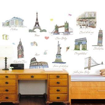 Famous Buildings Eiffel Tower Leaning Tower of Pisa ColosseumStatue Of Liberty Wall Decal PVC Home Sticker House Vinyl PaperDecoration WallPaper Living Room Bedroom Kitchen Art Picture DIYMurals Girls Boys kids Nursery Baby Playroom Decor