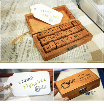 Fang Fang New 30pcs Vintage Wooden Lowercase Alphabet LettersRubber Stamps Seal Set - Intl