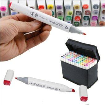Fashion Design 80 Colors Dual Tips Art Sketch Twin Marker PensHighlighters with Carrying Case for Painting Coloring Highlightingand Underlining - intl