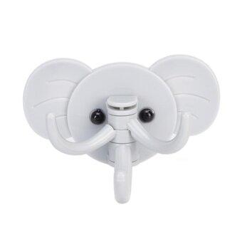 ขอเสนอ Fashion Elephant Decorative Key Holder Wall Shelf Rack Hook HomeOrganizer Bathroom Kitchen Accessories Blue - intl