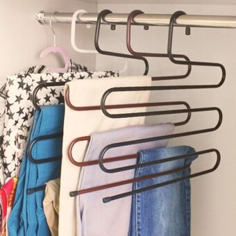 Fashion Modern Style S Shape Hangers Pants Multi-role Magic PantsWearing Clothes Rack Multilayer