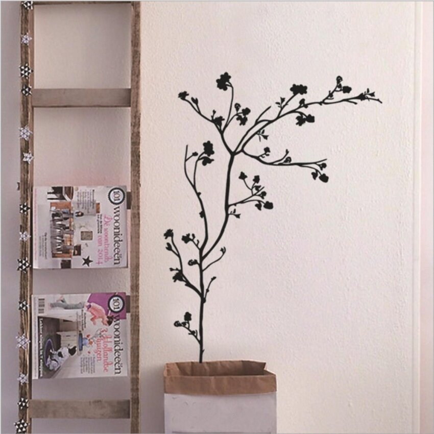 Fashion Simple Black Vines Wall Sticker Decal Wallpaper PVC MuralArt House Decoration Home Picture Paper