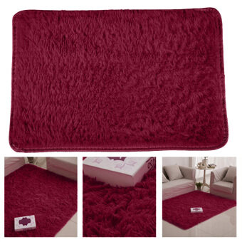 Fluffy Rugs Anti-Skid Shaggy Area Rug Dining Carpet Floor Mat WineRed