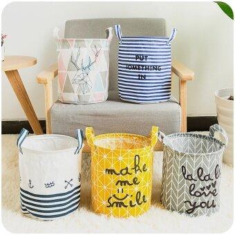 Foldable Laundry Basket Home Washing Sorter Hamper Cotton LinenToys Storage Bag Striped Organizer--2 PCS (Random Pattern andColor)