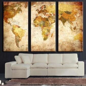 FRD Retro World Map Framed Picture Print Wall Artpainting Readyto Hang - intl