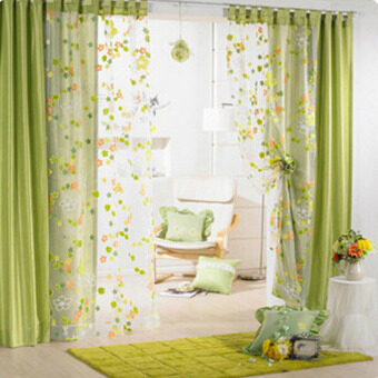 Harga Freebang Flower Floral Door Window Curtain Drape Panel Scarf Voile Room Divider Screen