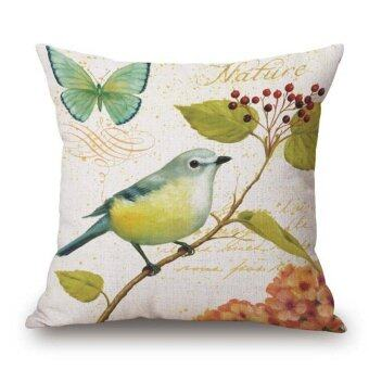 Garden Style flower and Bird Parrot Car Decorative Throw Pillowcase Pillow cases Cushion Covers Sofa Chair Home Decor(Multicolor2) - intl