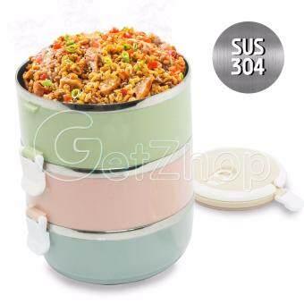 รีวิว Getservice ปิ่นโต ปิ่นโตสแตนเลส สูญญากาศ 3 ชั้น Bento Lunchbox FoodPicnic Storage (สีพาสเทล)