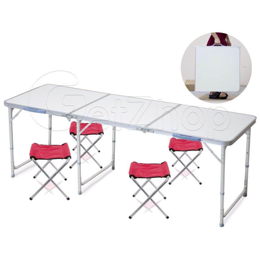 Getzhop โต๊ะตั้งแคมป์ ชุดโต๊ะปิคนิคพับได้ โต๊ะอลูมิเนียม สำหรับ 6 คน (สีขาวลายหิน) แถมฟรี! เก้าอี้สนาม เก้าอี้พับ เก้าอี้ปิคนิค Pocket Chair - สีแดง