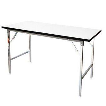 Gindex โต๊ะพับอเนกประสงค์ ขาเหล็กชุปโครเมี่ยม 150x60x75 (สีขาว)