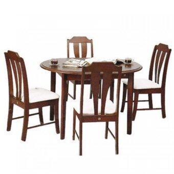 Gindexชุดโต๊ะอาหารไม้ยางพารา4ที่นั่ง(สีโอ๊ก)รุ่น FW