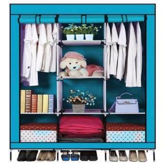 GIOCOSO ตู้เสื้อผ้า เปิดข้างพร้อมผ้าคลุม 3 บล็อค(Blue)
