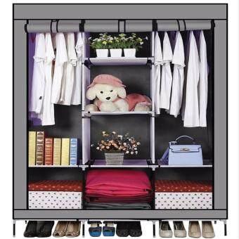 GIOCOSO ตู้เสื้อผ้า เปิดข้างพร้อมผ้าคลุม 3 บล็อค(Grey)