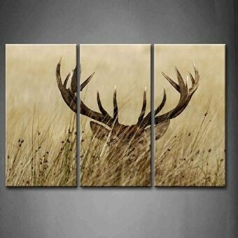 GPL/ 3 Panel Wall Art Deer Stag With Long Antler In The Bushes Painting The Picture Print On Canvas Animal Pictures For Home Decor Decoration Gift piece (Stretched By Wooden FrameReady To Hang)/ship from USA - intl