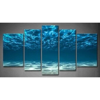 GPL/ 5 Panel Wall Art Blue Ocean Bottom View Beneath Surface Painting The Picture Print On Canvas Seascape Pictures For Home Decor Decoration Gift piece (Stretched By Wooden FrameReady To Hang)/ship from USA - intl