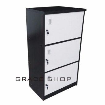 ต้องการขาย Grace Shop ตู้ล๊อกเกอร์ ตู้เก็บของ ชั้นไม้เอนกปรนะสงค์ 3 ชั้นพร้อมบาเปิดปิดมีกุญแจ รุ่น Locker cabinet (สีลายไม้โอ๊ด/ขาว)