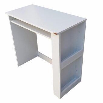 Grace Shop โต๊ะวางคอมพิวเตอร์ โต๊ะทำงานไม้ 80 ซม (สีขาว)