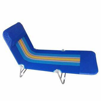 GraceShop เตียงสนาม 3 พับ ผ้าขนปุย ปรับเอนนอนได้ 3 ระดับ(สีน้ำเงิน)