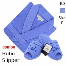 GuyLaroche Bathroom Collections (Robe+Slipper Free Size)  BLUE