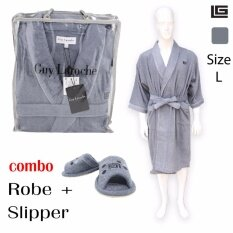 GuyLaroche Bathroom Collections (Robe+Slipper size L)  GREY