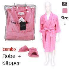GuyLaroche Bathroom Collections (Robe+Slipper size L)  PINK